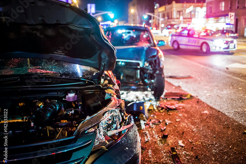 Photo Stands New York Car Crash with police