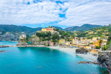 aerial view of monterosso al mare village which is part of the famous cinque terre region in Italy.