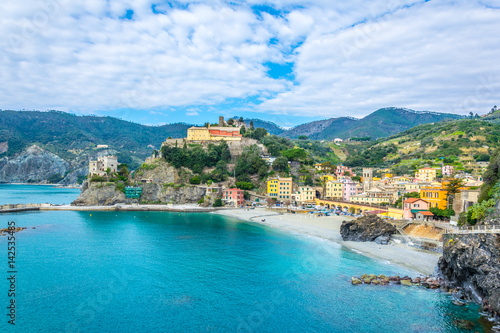 Fototapeta aerial view of monterosso al mare village which is part of the famous cinque terre region in Italy. obraz