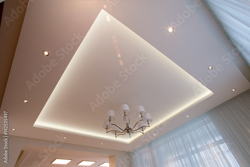 Canvas Print White ceiling illuminated with LED