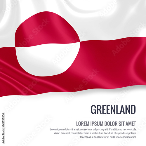 Fotografie, Obraz  Silky flag of Greenland waving on an isolated white background with the white text area for your advert message