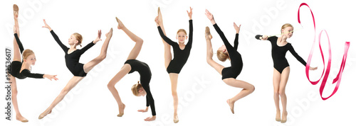In de dag Gymnastiek Girl doing gymnastics exercises on white background