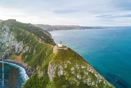 Aerial view of Nugget Point Lighthouse, Otago, New Zealand Canvas Print