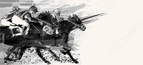 Garden Poster Art Studio Horse racing over grunge background