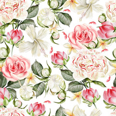Panel Szklany Podświetlane Peonie Bright watercolor seamless pattern with flowers peony, lotus, rose and plumeria. Illustration