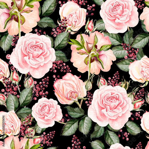 Bright watercolor seamless pattern with flowers roses, berry. Illustration. © knopazyzy
