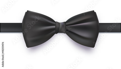 Fotografia  Realistic black bow tie, vector illustration, isolated on white background