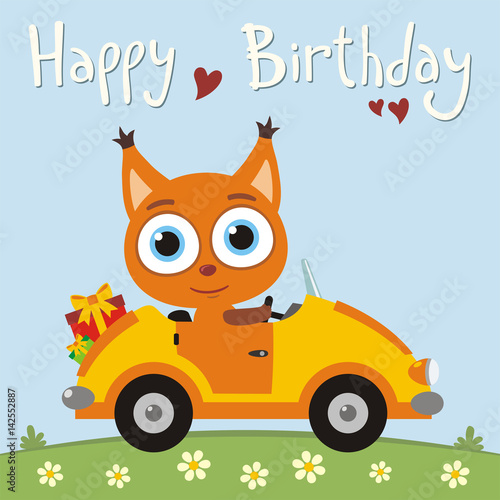 Happy Birthday Funny Squirrel Going In Car With Gifts For Card