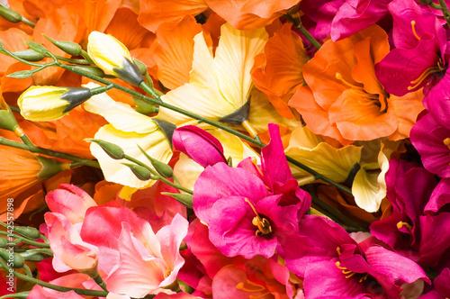 Mothers day flowers, background with gladioli petals close-up Billede på lærred