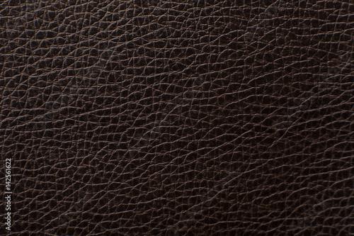 Fotobehang Leder Dark brown leather texture print as background.