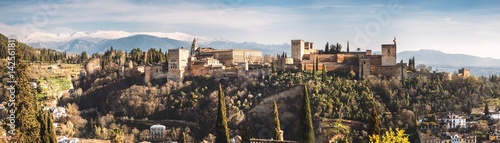 View of Alhambra palace on hill at Granada