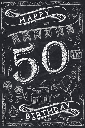 Anniversary Happy Birthday Card Design On Chalkboard 50 Years