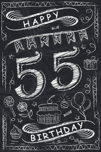 Anniversary Happy Birthday Card Design On Chalkboard 55 Years