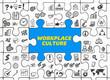 Leinwanddruck Bild - Workplace Culture / Puzzle mit Symbole