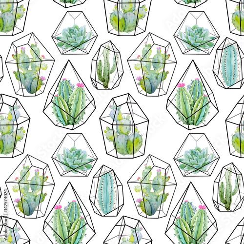Tapeta ścienna na wymiar Wektorowy wzór pattern z kaktusami - akwarela