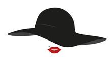 Femme - Chapeau - Visage - Portrait - Mode - Rouge à Lèvres - Accessoire - Logo
