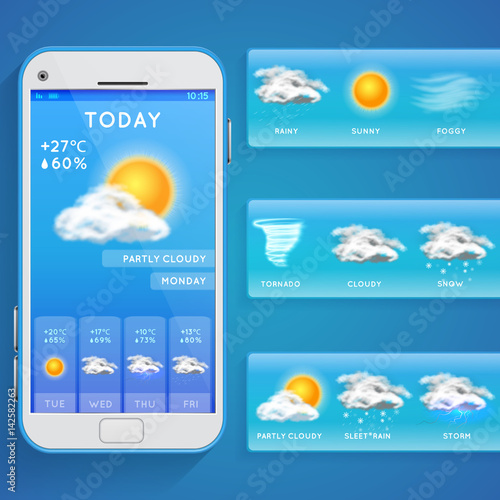 Fototapeta  Weather forecast app on smartphone screen and realistic vector icons