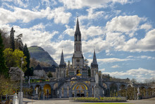 View Of The Cathedral In Lourdes, France