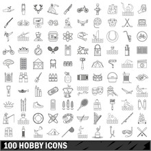 100 Hobby Icons Set, Outline S...