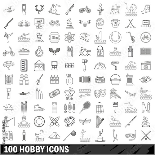 100 hobby icons set, outline style Wall mural
