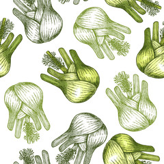 Panel Szklany Podświetlane Przyprawy Fennel bulb seamless pattern. Botanical Fennel background. Vector illustration