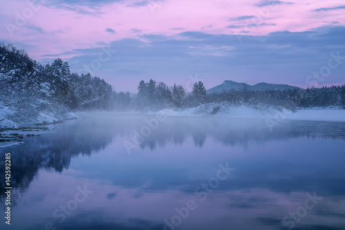 Photo Stands Lake Morning fog over Lebed (Swan) river, near the village Turochak, Altai Mountains, Siberia, Russia