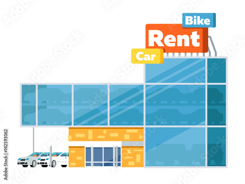 Fantastic Rental Business Conceptual Icon With Car Showroom Isolated Download Free Architecture Designs Scobabritishbridgeorg
