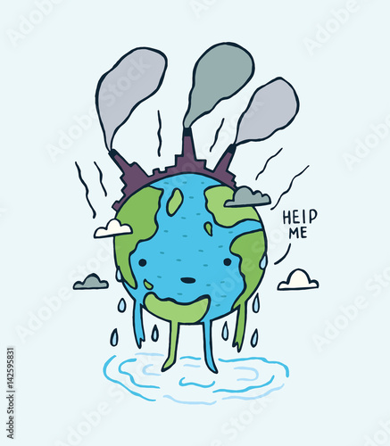 Fotografia  Sad polluted Earth. with help me message.
