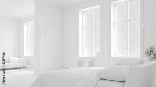 Komplett weißes Schlafzimmer in Altbauwohnung - Buy this stock photo ...
