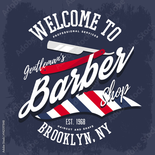 Branding sign or insignia for barber shop Canvas Print
