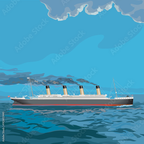 Photo  Technical illustration of a steam cruise ship, smoke stacks billowing, sailing across the ocean