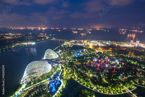 Obraz na plátne  Aerial night view of Singapore Gardens near Marina Bay in Singapore in night