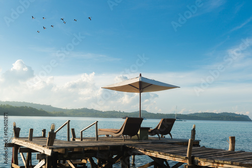 Foto op Aluminium Strand Beach Chairs and Umbrella on island in Phuket, Thailand. Summer, Travel, Vacation and Holiday concept