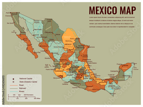 Photo Mexico map with selectable territories. Vector