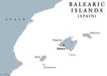 Balearic Islands Political Map...