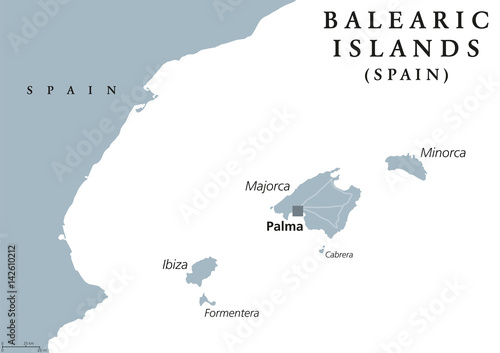 Map Of Spain Majorca.Balearic Islands Political Map With Capital Palma Majorca Minorca