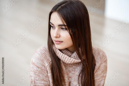 Closeup Portrait Of Pensive White Caucasian European
