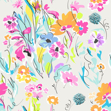 Funky Flower Drawing ~ Seamless Print