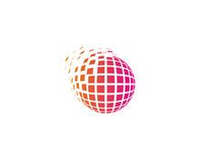 Globe Square Sphere Spark Icon Logo Design Element