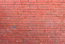 Red Wall Of Painted Brick