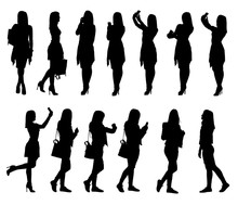 Collection Of Different Young Woman Silhouettes Using Phone And Bag Accessories From Everyday Life.  Easy Editable Layered Vector Illustration.