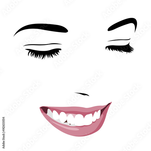 Shy Timid Girl Smiling With Closed Eyes Abstract Pop Up Style Clip Art Easy Editable Layered Vector Illustration Buy This Stock Vector And Explore Similar Vectors At Adobe Stock Adobe Stock