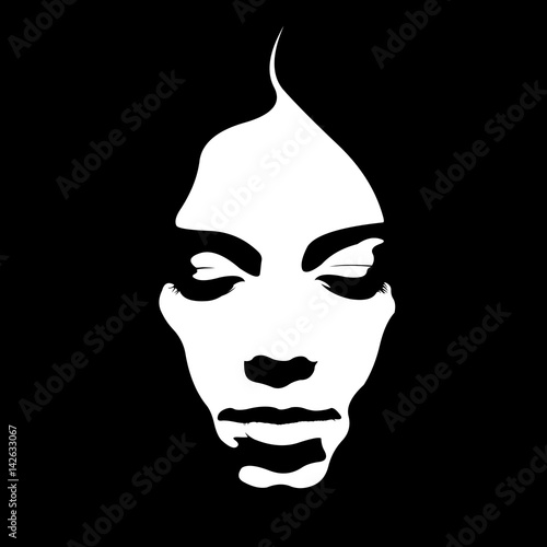 Due tone retro style poster of woman face looking down. Easy editable layered vector illustration. Fototapete