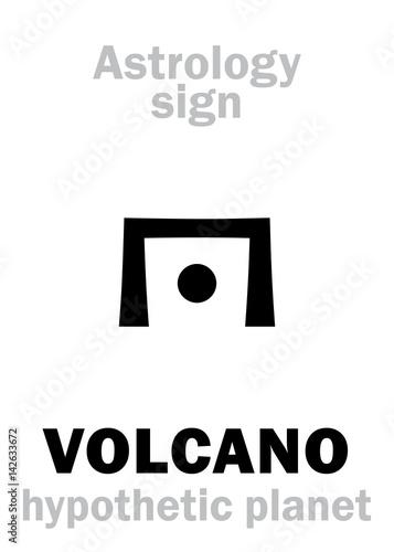 Canvas Prints Owls cartoon Astrology Alphabet: VOLCANO (Vulcan), hypothetical planet (beside Sun). Hieroglyphics character sign (single symbol).