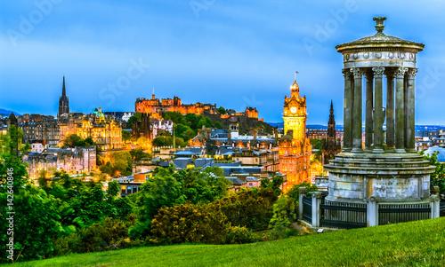 Plakat Edynburg gród w godzinach wieczornych, Szkocja