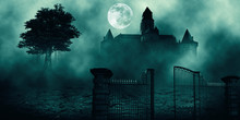 .Horror Halloween Haunted House In Creepy Night Forest.