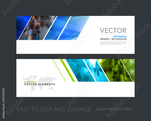 Fototapeta Vector set of modern horizontal website banners with colourful g obraz