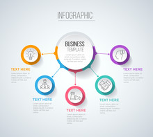 Five Steps Infographics With M...