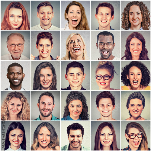 Smiling faces. Happy group of multiethnic people men and women. Fotobehang