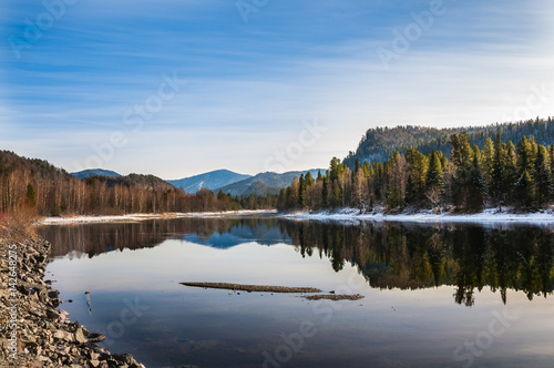 Door stickers Reflection Landscape of mountains and forest reflecting in water of Biya River, Altai, Siberia, Russia